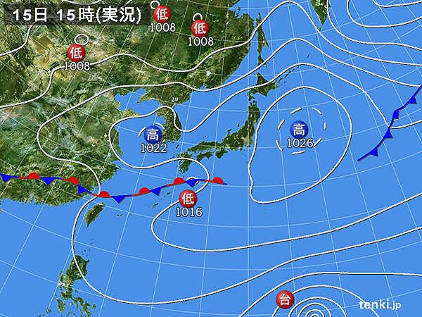 実況天気図(2015年03月15日)