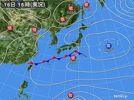 実況天気図(2015年03月16日)