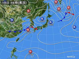 実況天気図(2015年03月18日)
