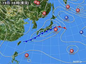 実況天気図(2015年03月19日)