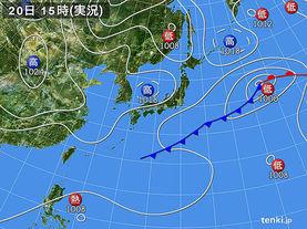 実況天気図(2015年03月20日)