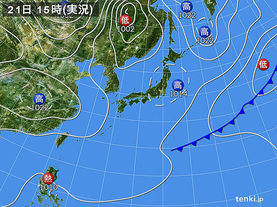 実況天気図(2015年03月21日)