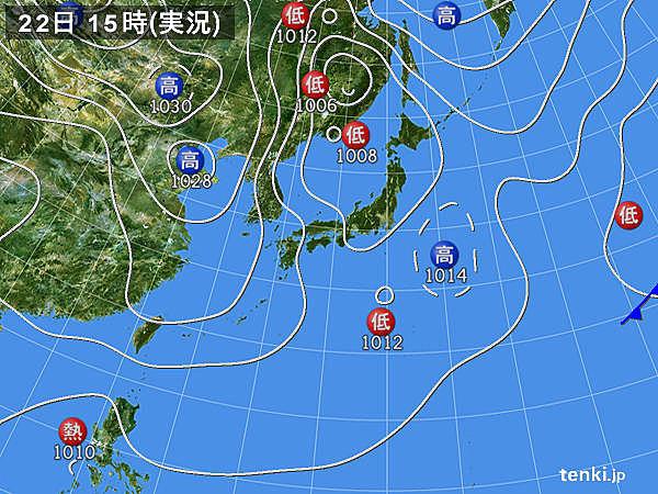 実況天気図(2015年03月22日)