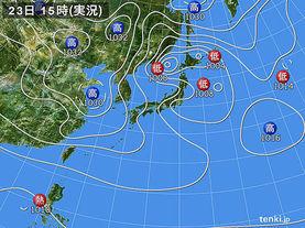 実況天気図(2015年03月23日)