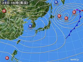 実況天気図(2015年03月25日)