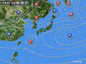 実況天気図(2015年03月28日)