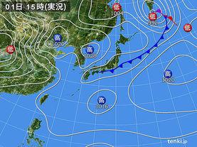 実況天気図(2015年04月01日)