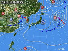 実況天気図(2015年04月02日)