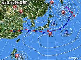 実況天気図(2015年04月04日)