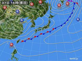 実況天気図(2015年04月07日)