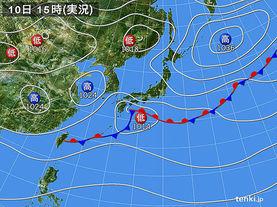 実況天気図(2015年04月10日)