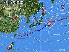 実況天気図(2015年04月11日)
