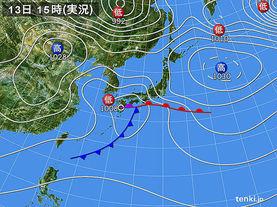 実況天気図(2015年04月13日)