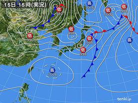 実況天気図(2015年04月15日)