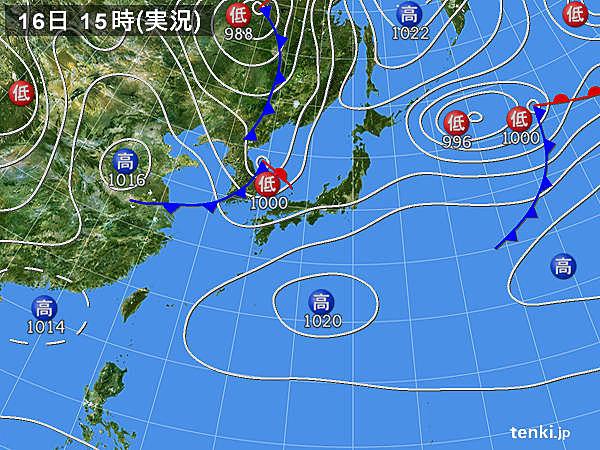 実況天気図(2015年04月16日)