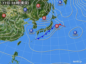 実況天気図(2015年04月17日)