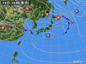 実況天気図(2015年04月18日)