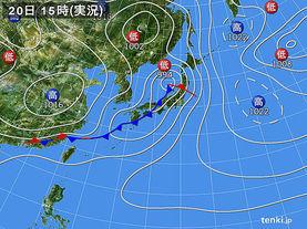 実況天気図(2015年04月20日)