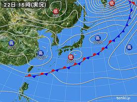 実況天気図(2015年04月22日)