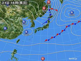 実況天気図(2015年04月24日)