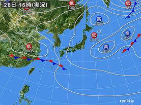 実況天気図(2015年04月28日)