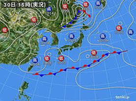 実況天気図(2015年04月30日)
