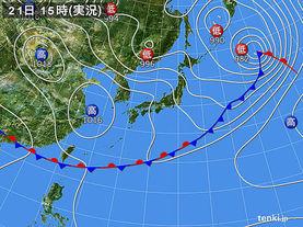 実況天気図(2015年05月21日)