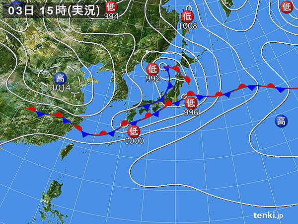 実況天気図(2015年06月03日)