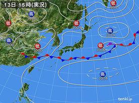 実況天気図(2015年06月13日)