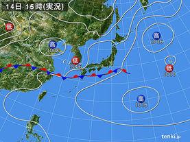 実況天気図(2015年06月14日)
