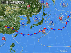 実況天気図(2015年06月21日)