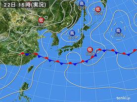 実況天気図(2015年06月22日)