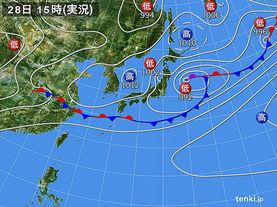 実況天気図(2015年06月28日)