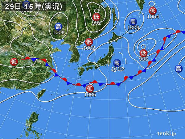 実況天気図(2015年06月29日)