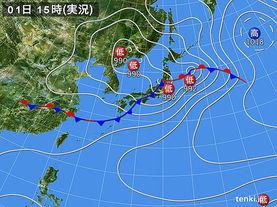 実況天気図(2015年07月01日)