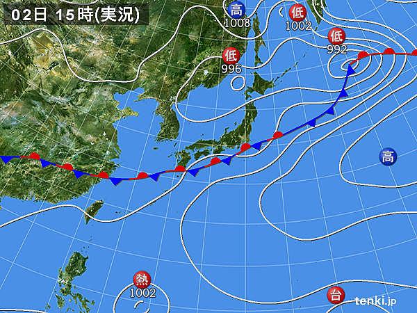 実況天気図(2015年07月02日)
