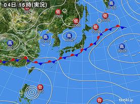実況天気図(2015年07月04日)