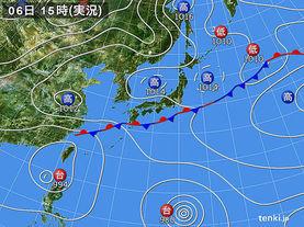 実況天気図(2015年07月06日)