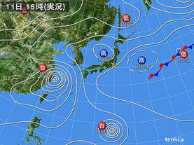 実況天気図(2015年07月11日)