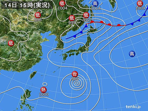 実況天気図(2015年07月14日)