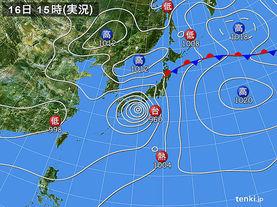 実況天気図(2015年07月16日)