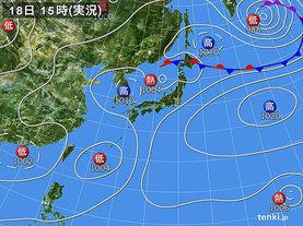 実況天気図(2015年07月18日)