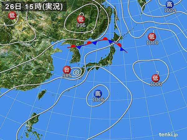 実況天気図(2015年07月26日)