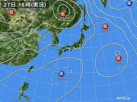 実況天気図(2015年07月27日)