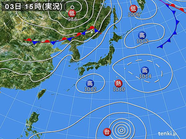 実況天気図(2015年08月03日)