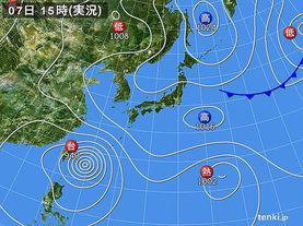 実況天気図(2015年08月07日)