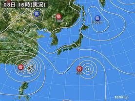 実況天気図(2015年08月08日)