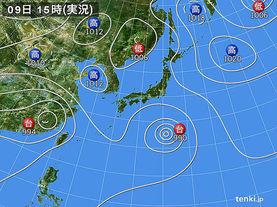 実況天気図(2015年08月09日)