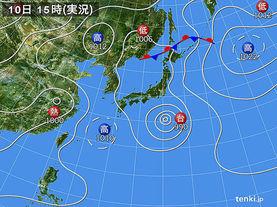 実況天気図(2015年08月10日)
