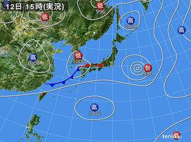 実況天気図(2015年08月12日)